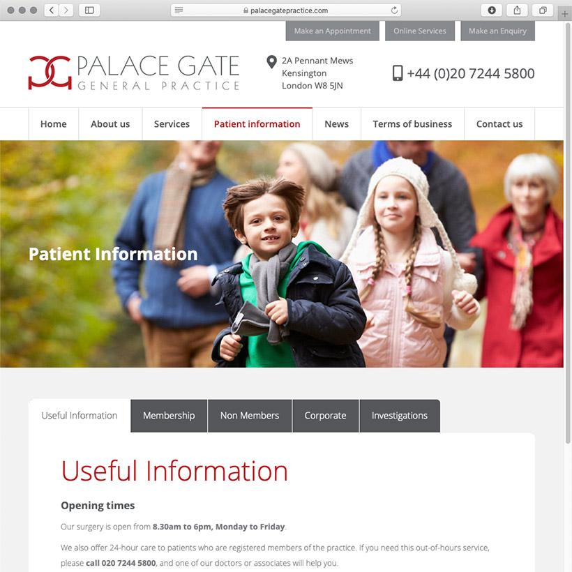 Palace Gate Practice website design