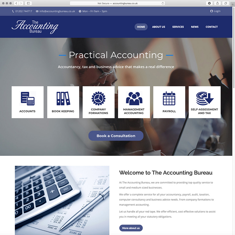 The Accounting Bureau website design and technical authoring
