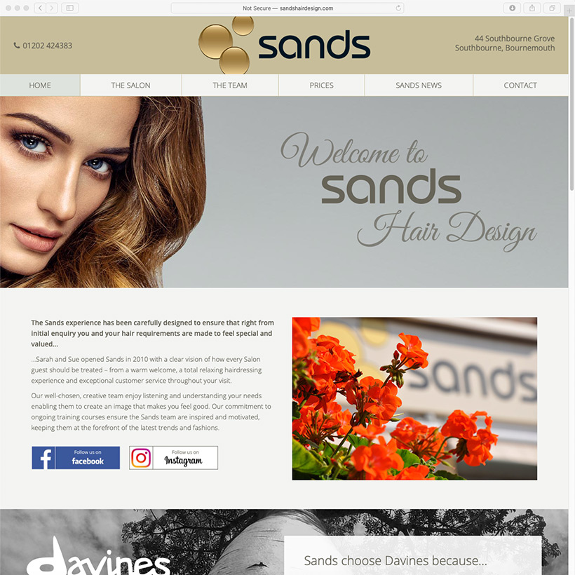 Sands Hair Design website design